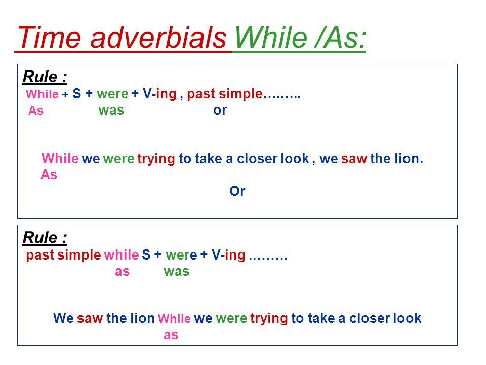 Time adverbials While /As: Rule : While + S + were + V-ing, past simple….…..