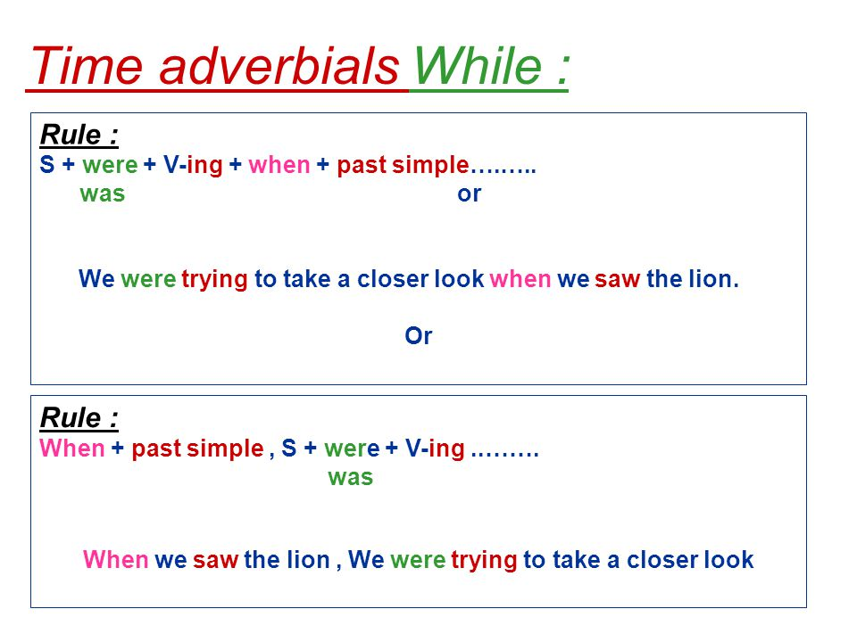 Time adverbials While : Rule : S + were + V-ing + when + past simple….…..