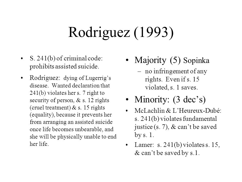 Rodriguez (1993) S. 241(b) of criminal code: prohibits assisted suicide.