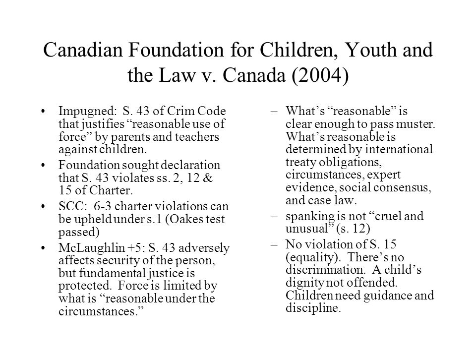 Canadian Foundation for Children, Youth and the Law v.