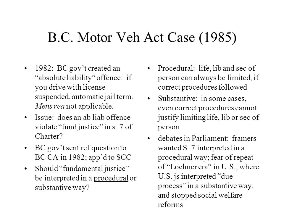 "B.C. Motor Veh Act Case (1985) 1982: BC gov't created an ""absolute liability"" offence: if you drive with license suspended, automatic jail term. Mens"