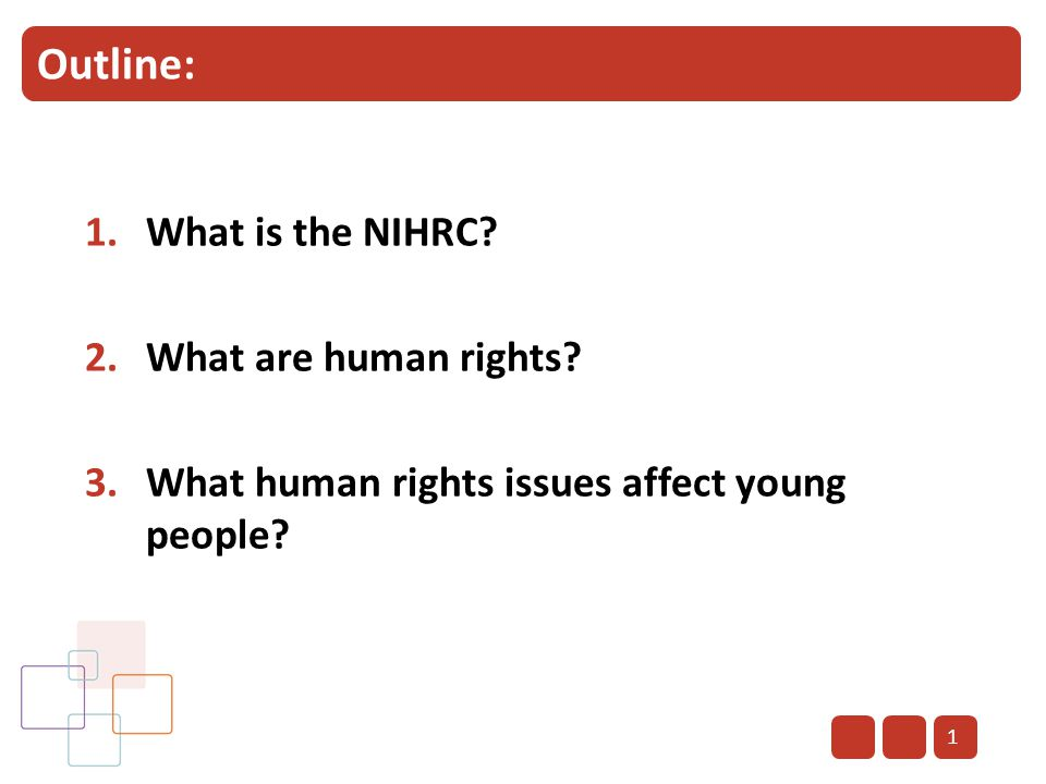 Outline: 1.What is the NIHRC? 2.What are human rights? 3.What human rights issues affect young people? 1
