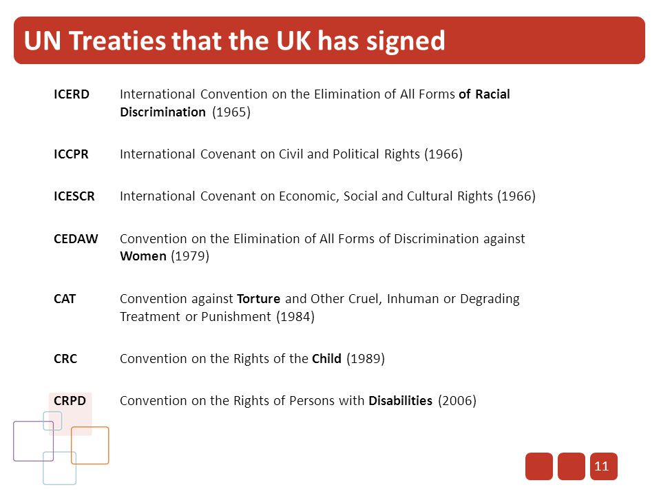 UN Treaties that the UK has signed ICERD International Convention on the Elimination of All Forms of Racial Discrimination (1965) ICCPRInternational C