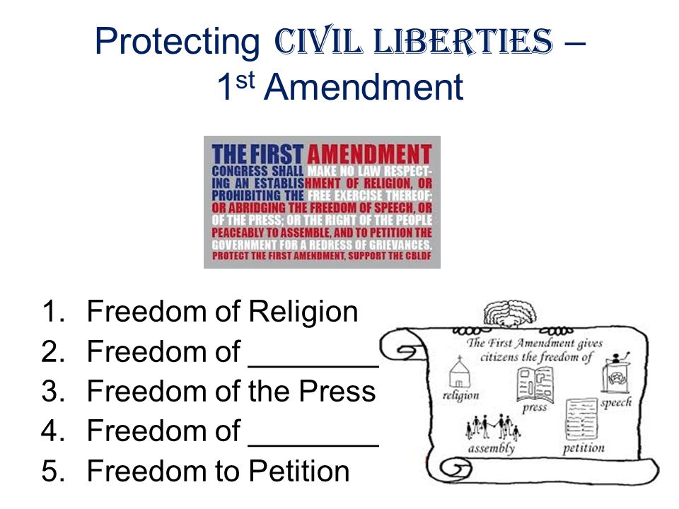 Protecting Civil Liberties – 1 st Amendment 1.Freedom of Religion 2.Freedom of ________ 3.Freedom of the Press 4.Freedom of _________ 5.Freedom to Pet
