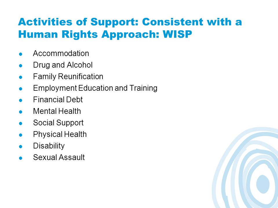 Activities of Support: Consistent with a Human Rights Approach: WISP Accommodation Drug and Alcohol Family Reunification Employment Education and Training Financial Debt Mental Health Social Support Physical Health Disability Sexual Assault