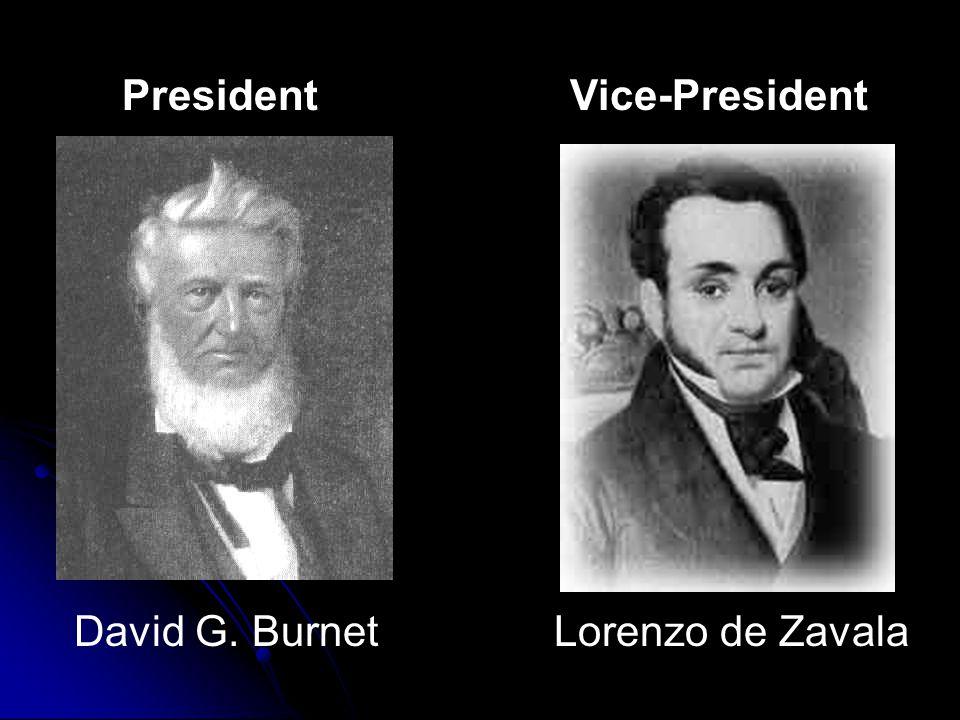 PresidentVice-President David G. BurnetLorenzo de Zavala
