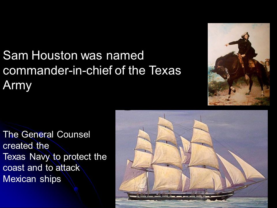 Texas Military The General Counsel created the Texas Navy to protect the coast and to attack Mexican ships.