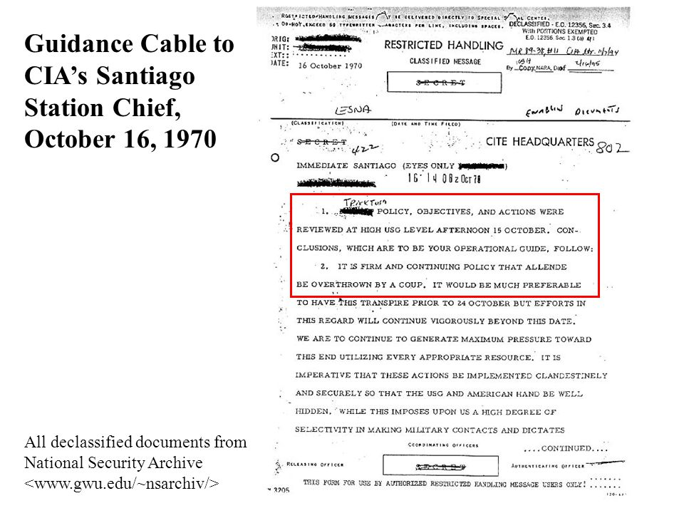 Guidance Cable to CIA's Santiago Station Chief, October 16, 1970 All declassified documents from National Security Archive