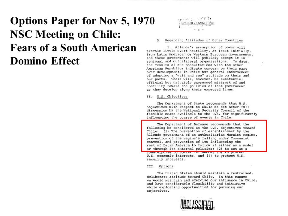 Options Paper for Nov 5, 1970 NSC Meeting on Chile: Fears of a South American Domino Effect