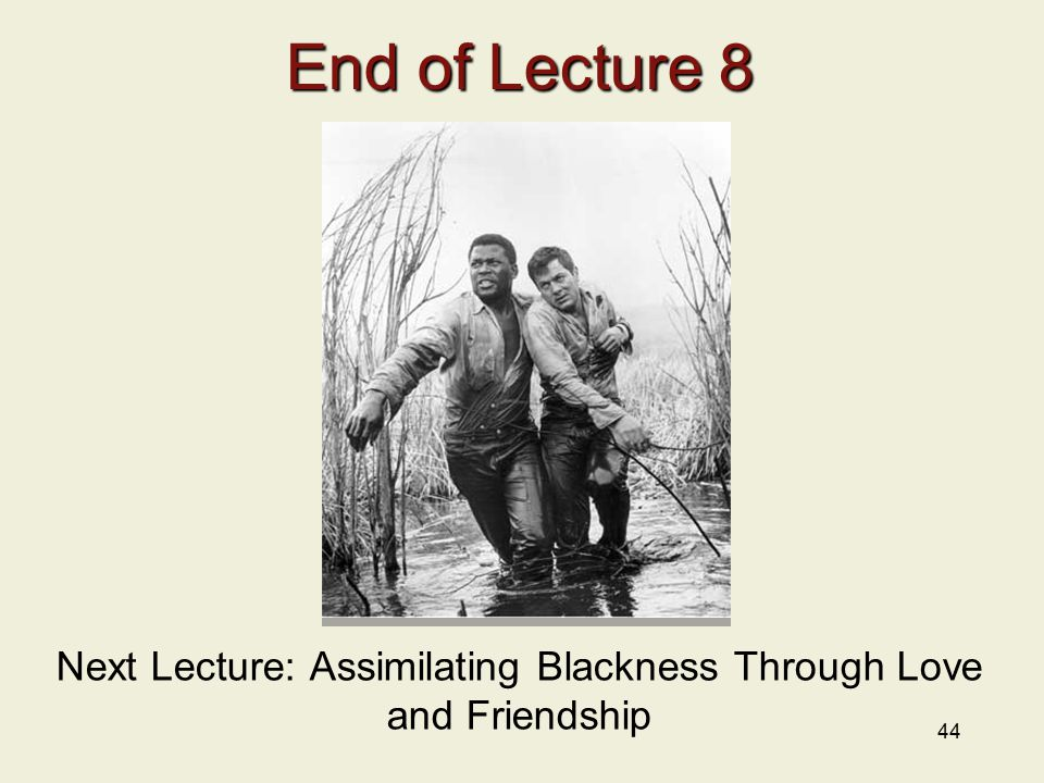 44 End of Lecture 8 Next Lecture: Assimilating Blackness Through Love and Friendship