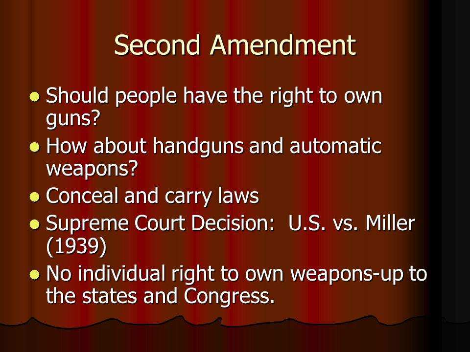 Second Amendment Should people have the right to own guns.