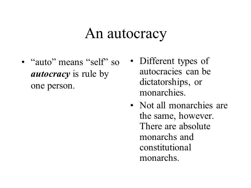 Oligarchy Oligarchy means rule by the few.