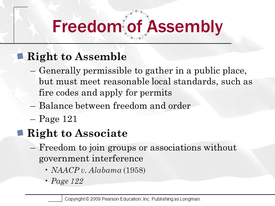 Copyright © 2009 Pearson Education, Inc. Publishing as Longman. Freedom of Assembly Right to Assemble –Generally permissible to gather in a public pla