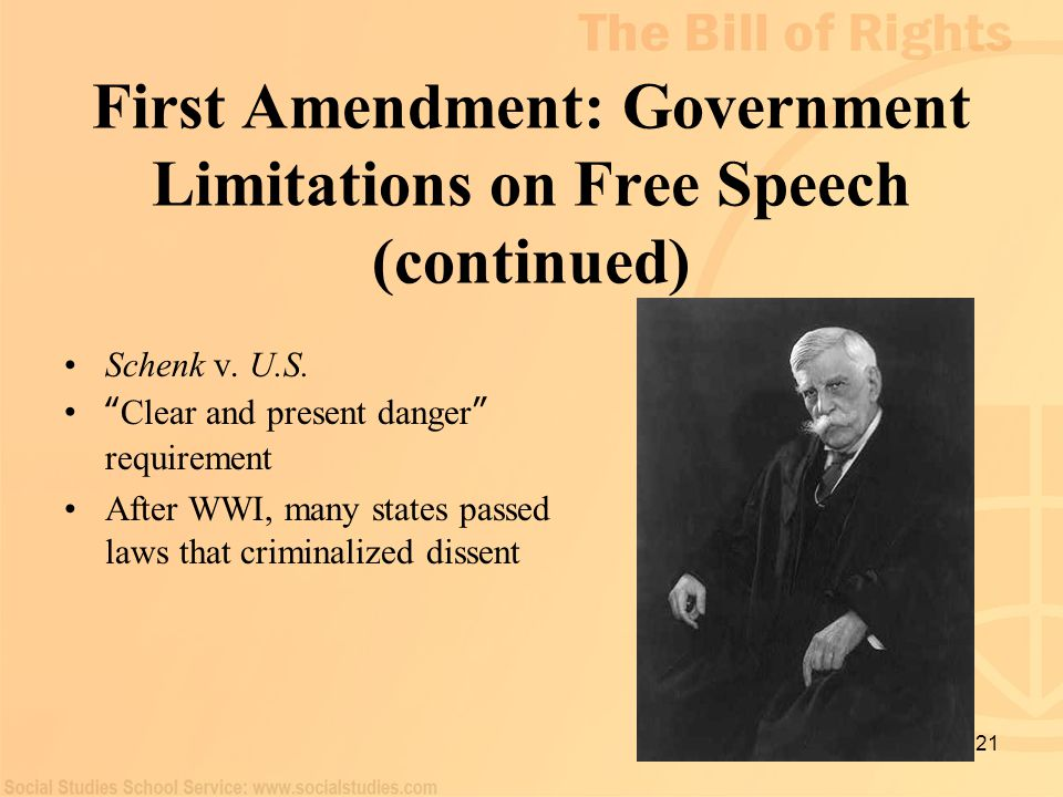 "21 First Amendment: Government Limitations on Free Speech (continued) Schenk v. U.S. "" Clear and present danger "" requirement After WWI, many states p"