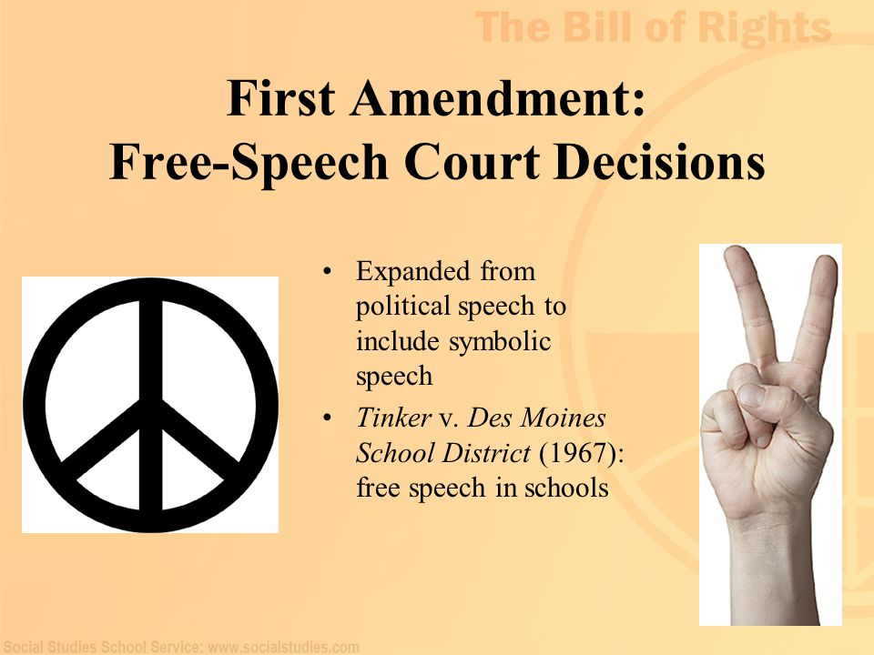 22 First Amendment: Free-Speech Court Decisions Expanded from political speech to include symbolic speech Tinker v. Des Moines School District (1967):