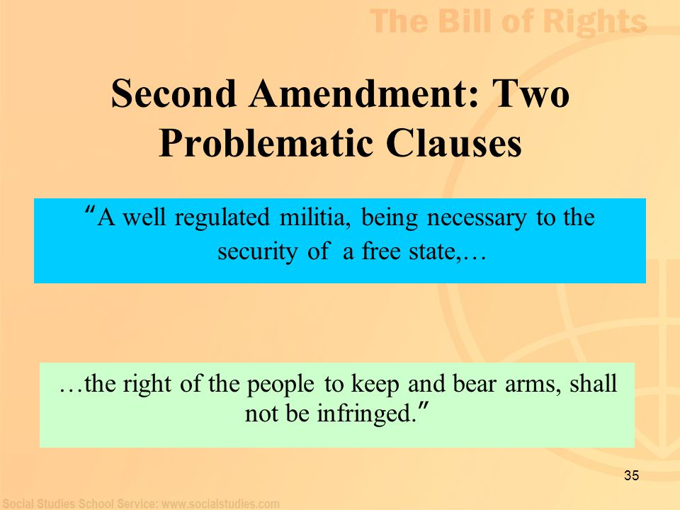 "35 Second Amendment: Two Problematic Clauses "" A well regulated militia, being necessary to the security of a free state,… …the right of the people to"