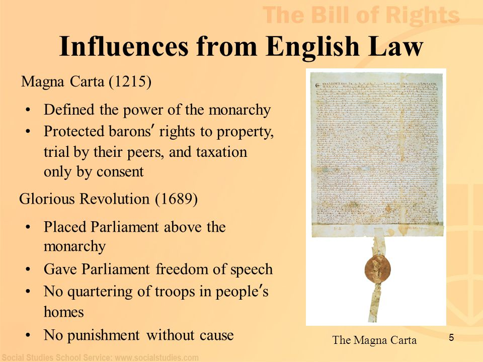 5 Influences from English Law The Magna Carta Defined the power of the monarchy Protected barons ' rights to property, trial by their peers, and taxat