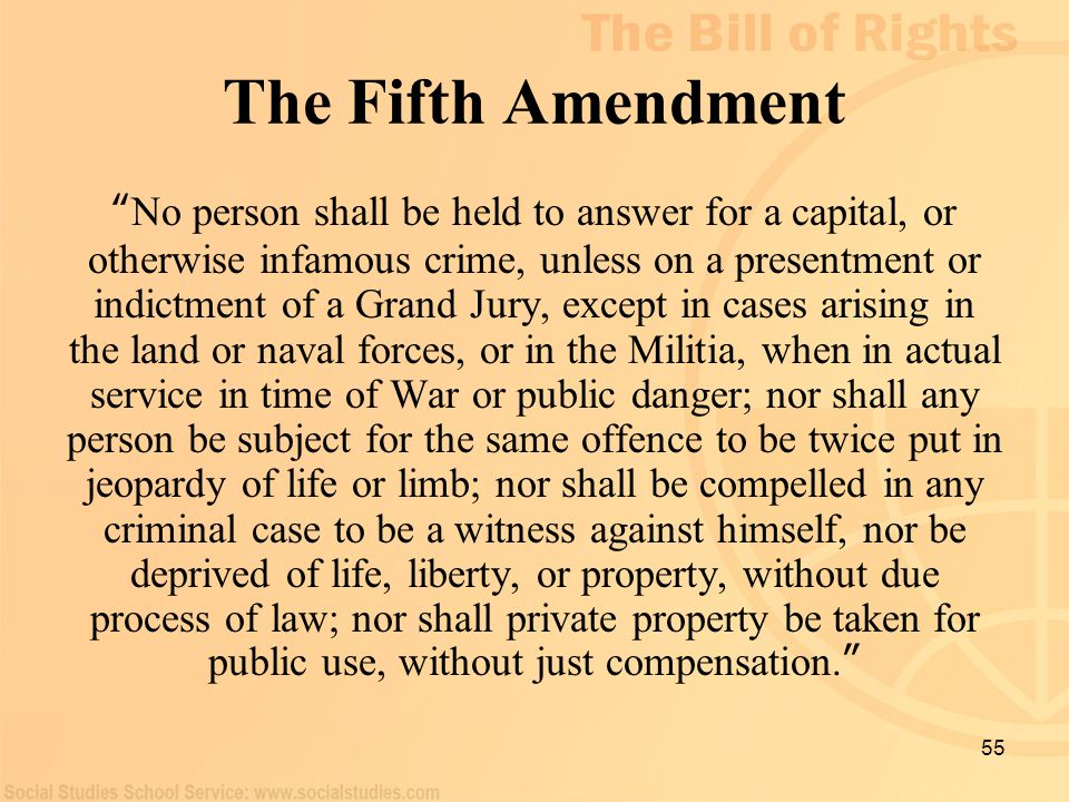 "55 The Fifth Amendment "" No person shall be held to answer for a capital, or otherwise infamous crime, unless on a presentment or indictment of a Gran"