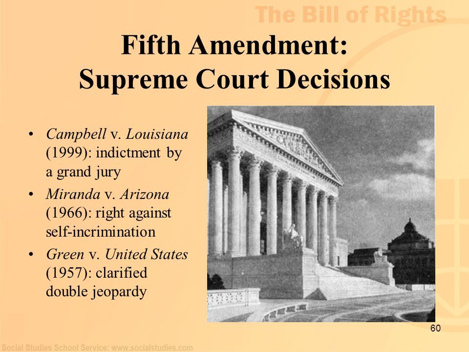 60 Fifth Amendment: Supreme Court Decisions Campbell v. Louisiana (1999): indictment by a grand jury Miranda v. Arizona (1966): right against self-inc