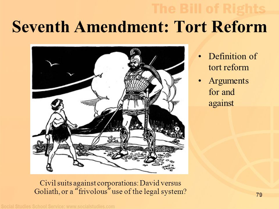 "79 Seventh Amendment: Tort Reform Definition of tort reform Arguments for and against Civil suits against corporations: David versus Goliath, or a "" f"