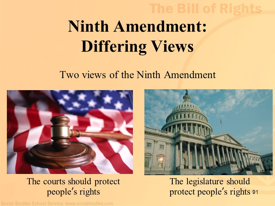 91 Ninth Amendment: Differing Views Two views of the Ninth Amendment The courts should protect people ' s rights The legislature should protect people