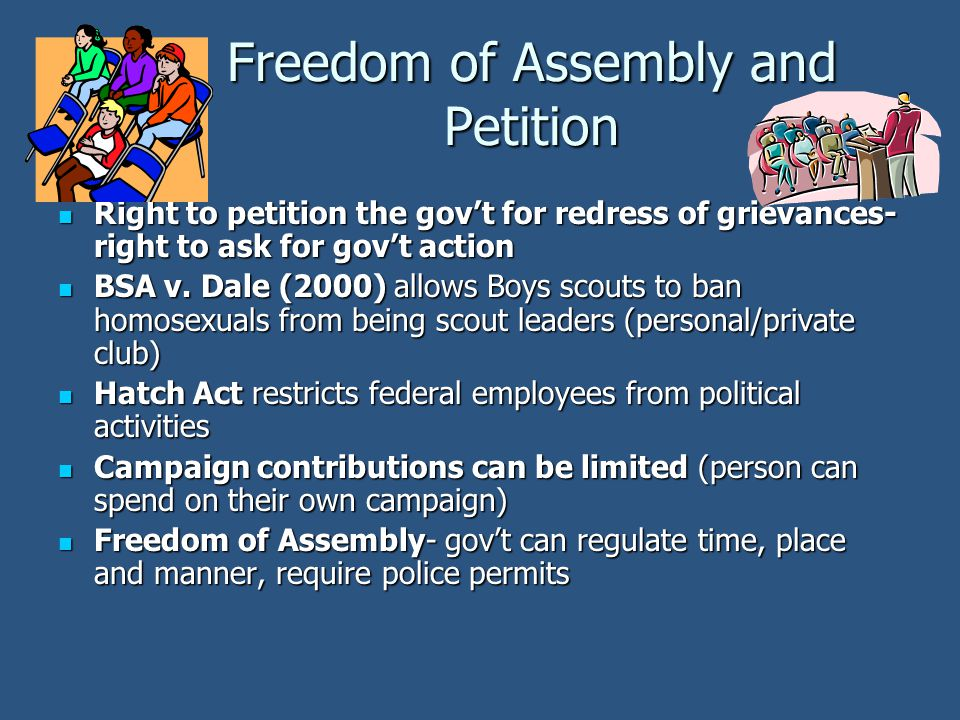 Freedom of Assembly and Petition Right to petition the gov't for redress of grievances- right to ask for gov't action Right to petition the gov't for