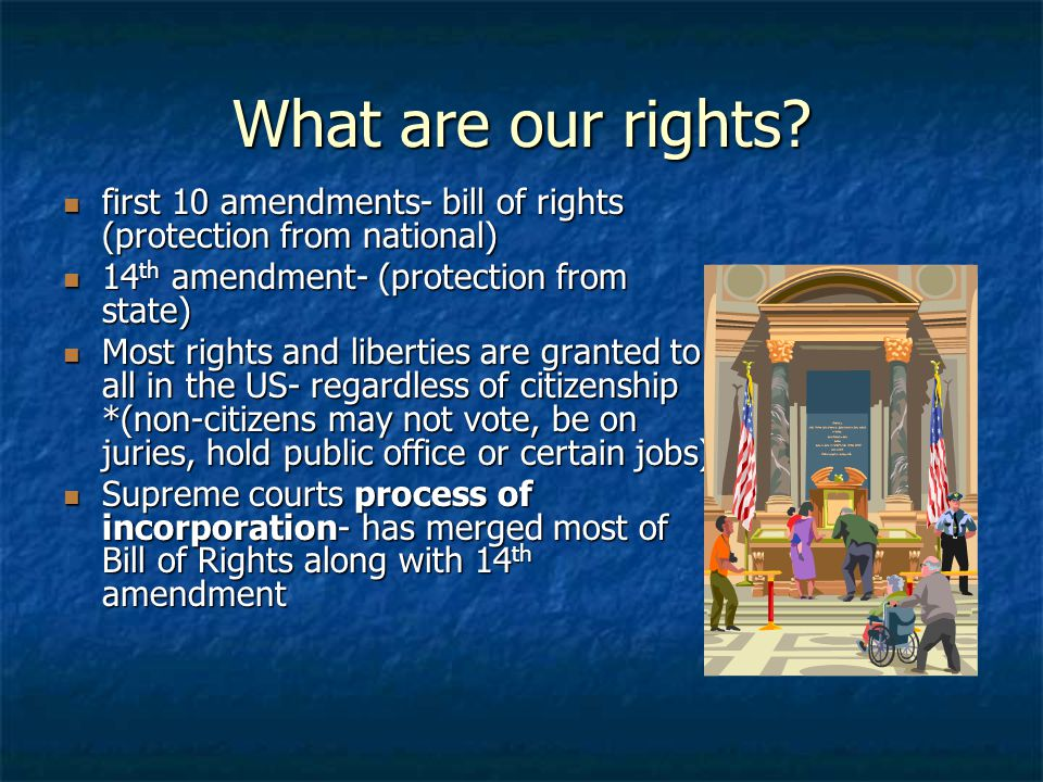What are our rights? first 10 amendments- bill of rights (protection from national) first 10 amendments- bill of rights (protection from national) 14