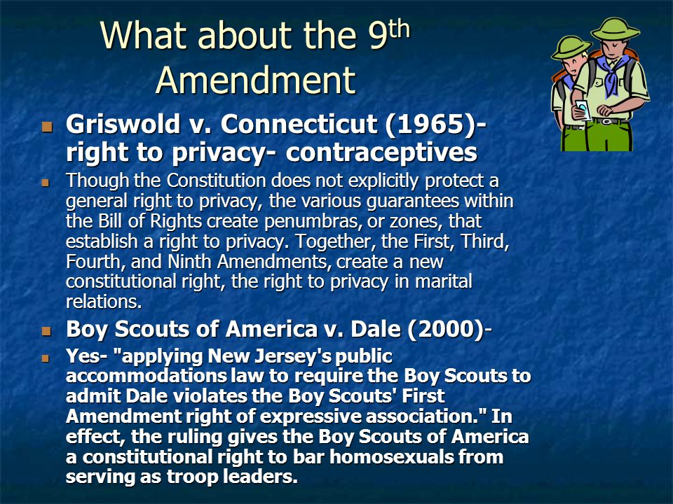What about the 9 th Amendment Griswold v. Connecticut (1965)- right to privacy- contraceptives Griswold v. Connecticut (1965)- right to privacy- contr