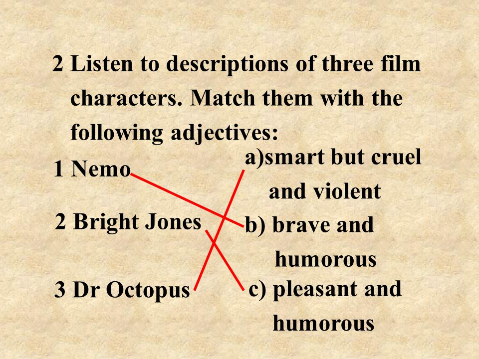 2 Listen to descriptions of three film characters.