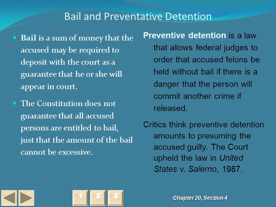 Bail and Preventative Detention Chapter 20, Section 4 2222 3333 1111 Bail is a sum of money that the accused may be required to deposit with the court