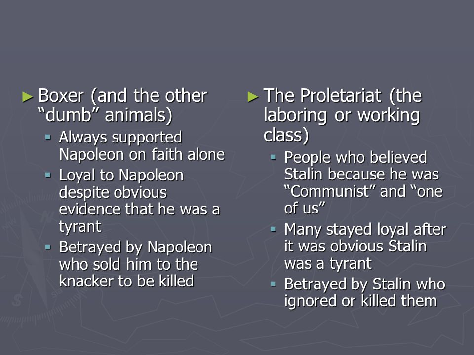 ► Boxer (and the other dumb animals)  Always supported Napoleon on faith alone  Loyal to Napoleon despite obvious evidence that he was a tyrant  Betrayed by Napoleon who sold him to the knacker to be killed ► The Proletariat (the laboring or working class)  People who believed Stalin because he was Communist and one of us  Many stayed loyal after it was obvious Stalin was a tyrant  Betrayed by Stalin who ignored or killed them