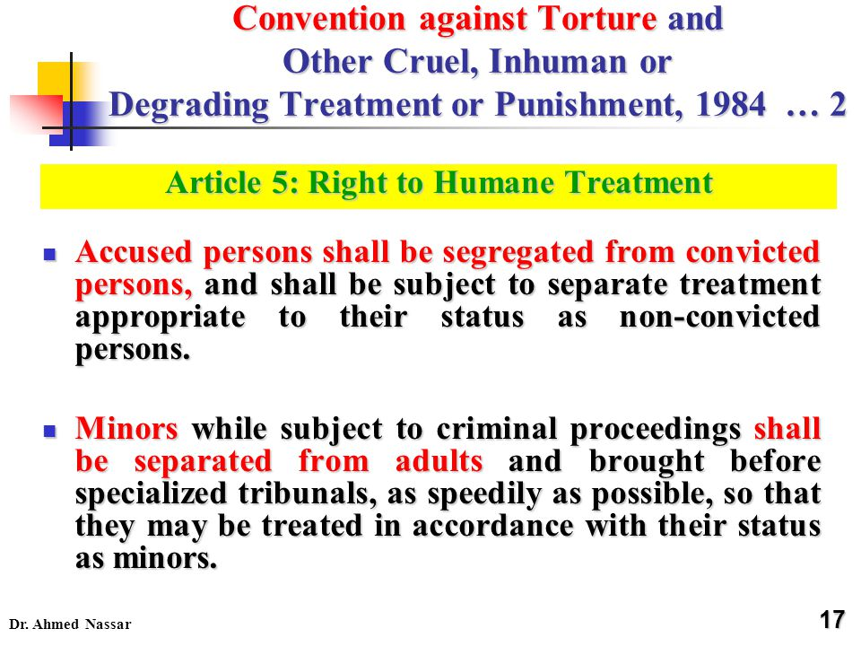 Dr. Ahmed Nassar Accused persons shall be segregated from convicted persons, and shall be subject to separate treatment appropriate to their status as