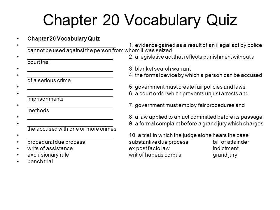 Chapter 20 Vocabulary Quiz _____________________________1.