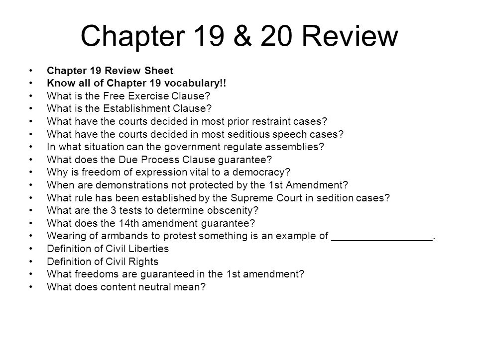Chapter 19 & 20 Review Chapter 19 Review Sheet Know all of Chapter 19 vocabulary!.