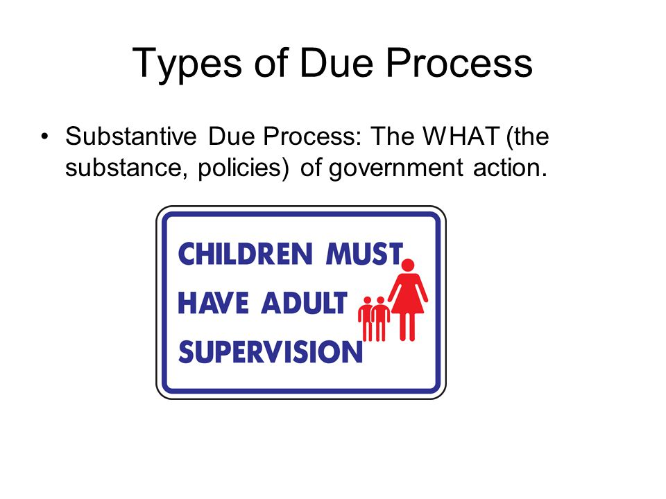 Types of Due Process Substantive Due Process: The WHAT (the substance, policies) of government action.