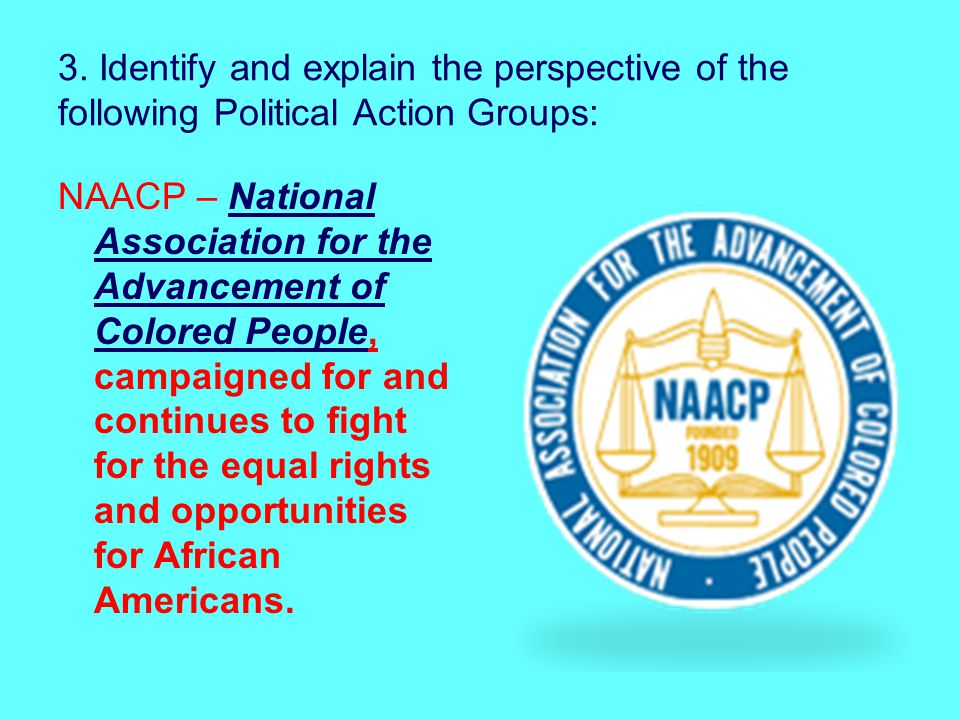 3. Identify and explain the perspective of the following Political Action Groups: NAACP – National Association for the Advancement of Colored People,