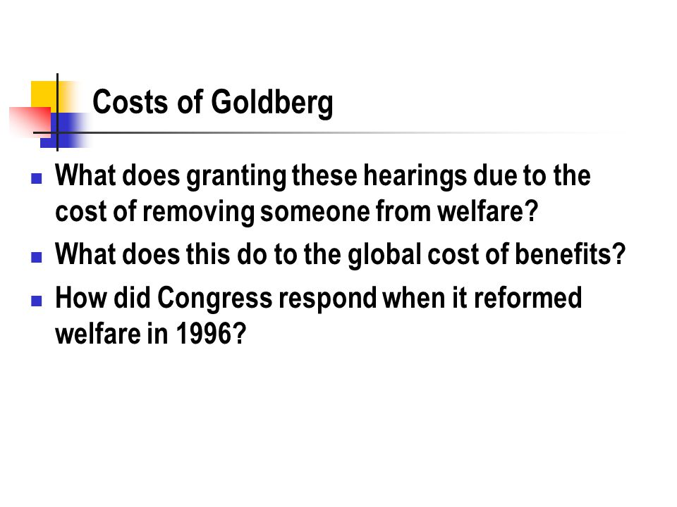 Costs of Goldberg What does granting these hearings due to the cost of removing someone from welfare? What does this do to the global cost of benefits
