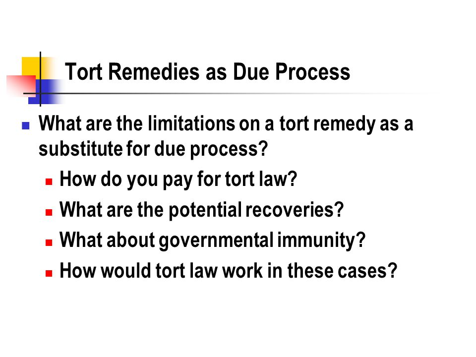 Tort Remedies as Due Process What are the limitations on a tort remedy as a substitute for due process? How do you pay for tort law? What are the pote