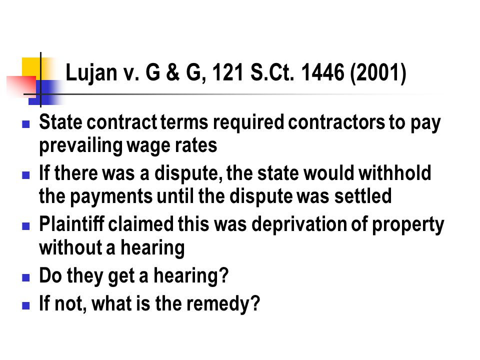 Lujan v. G & G, 121 S.Ct. 1446 (2001) State contract terms required contractors to pay prevailing wage rates If there was a dispute, the state would w