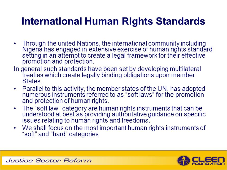 International Human Rights Standards Cotd International Human Rights Standards can be divided into three majors sections: International Bill of Rights, Core International Human Rights Instruments and Human Rights in the Administration of Justice International Bill of Rights Universal Declaration of Human Rights, 1948 International Covenant on Civil and Political Rights, 1966 International Covenant on Economic, Social and Cultural Rights, 1966 Optional Protocol to the International Covenant on civil and Political Rights, 1966 Second Optional Protocol to the international Covenant on Civil and Political Rights, 1989