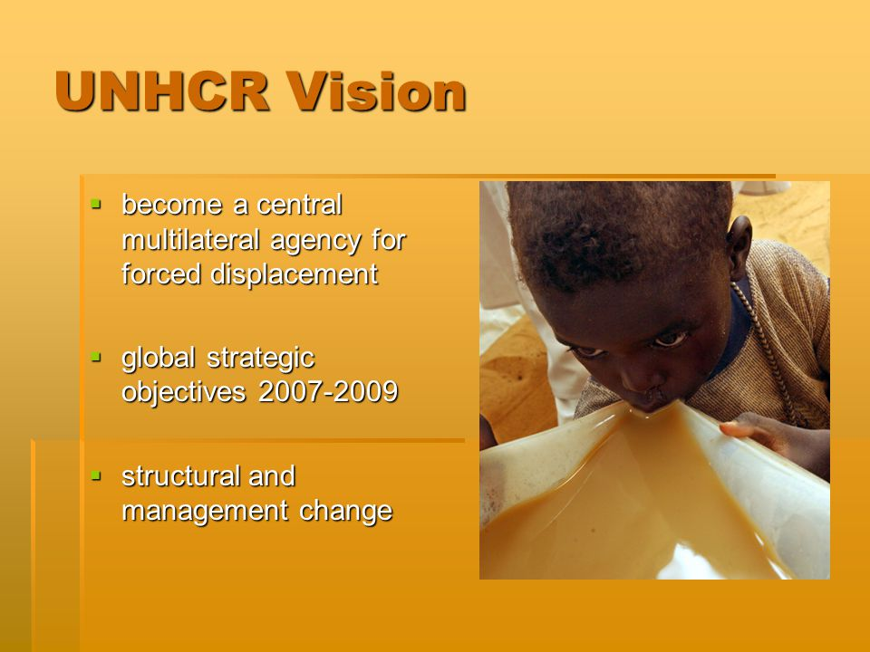 UNHCR Vision  become a central multilateral agency for forced displacement  global strategic objectives 2007-2009  structural and management change