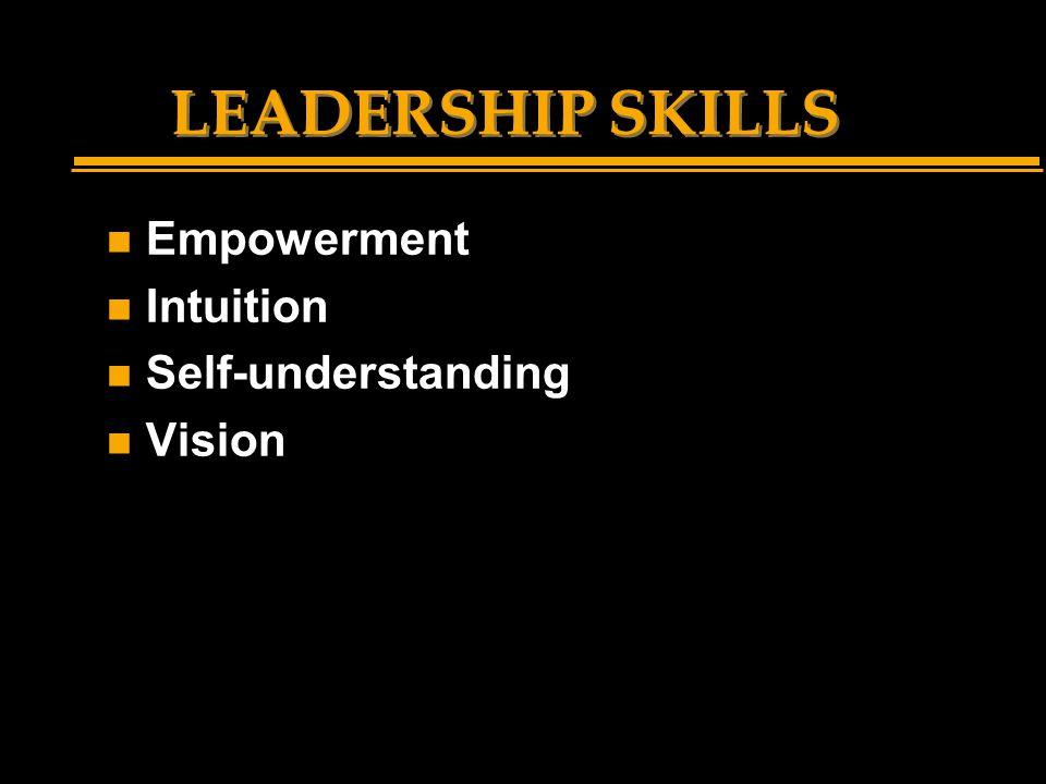 LEADERSHIP SKILLS n Empowerment n Intuition n Self-understanding n Vision