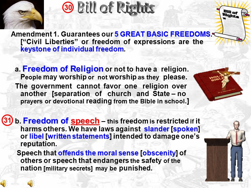 5 GREAT BASIC FREEDOMS keystone of individual freedom Amendment 1.