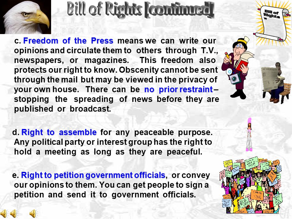 Freedom of the Press no prior restraint c.