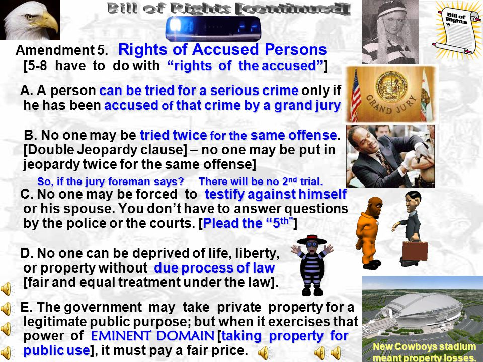 rights of the accused Amendment 5.