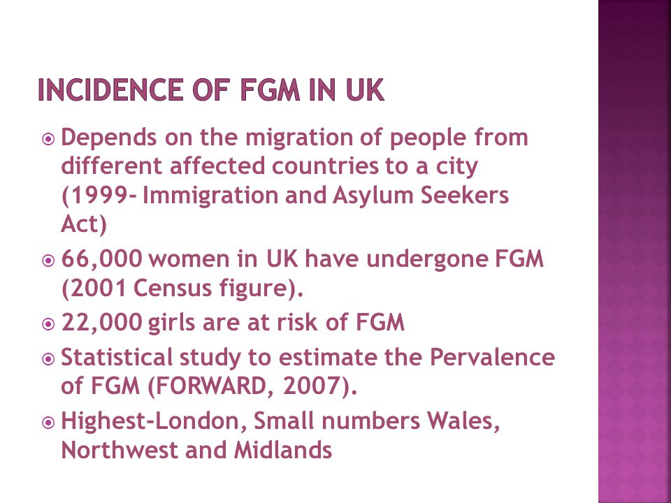  Depends on the migration of people from different affected countries to a city (1999- Immigration and Asylum Seekers Act)  66,000 women in UK have