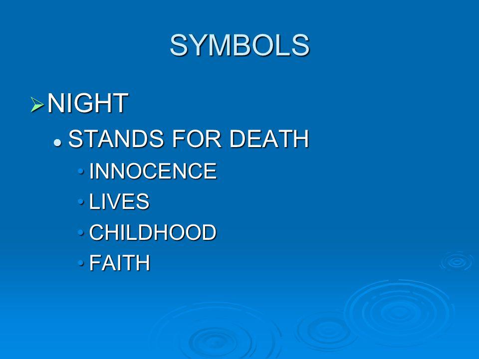 SYMBOLS  NIGHT STANDS FOR DEATH STANDS FOR DEATH INNOCENCEINNOCENCE LIVESLIVES CHILDHOODCHILDHOOD FAITHFAITH