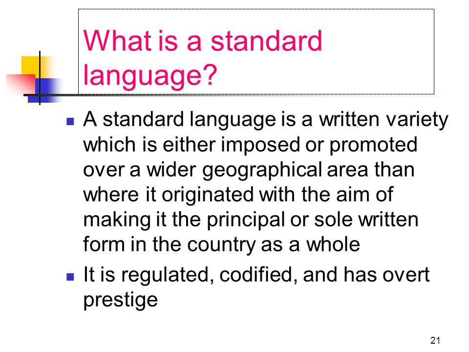 20 What is English.Standard English vs. Varieties Dialects and Registers Written vs.