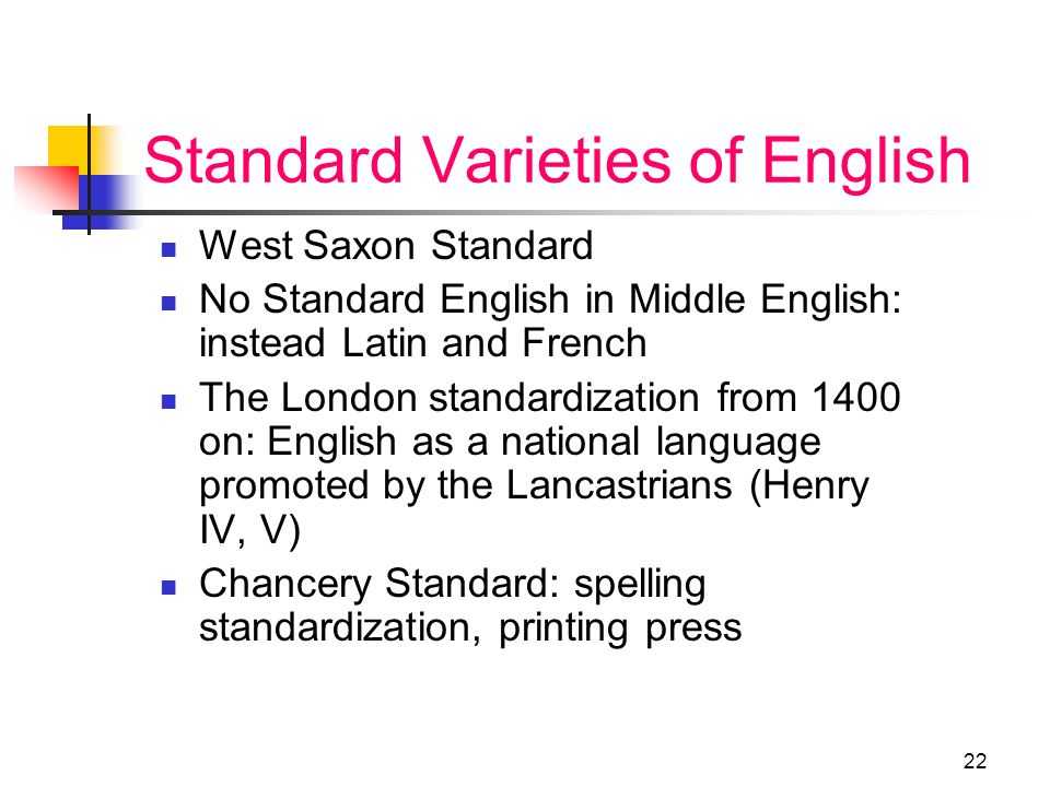 21 What is a standard language? A standard language is a written variety which is either imposed or promoted over a wider geographical area than where