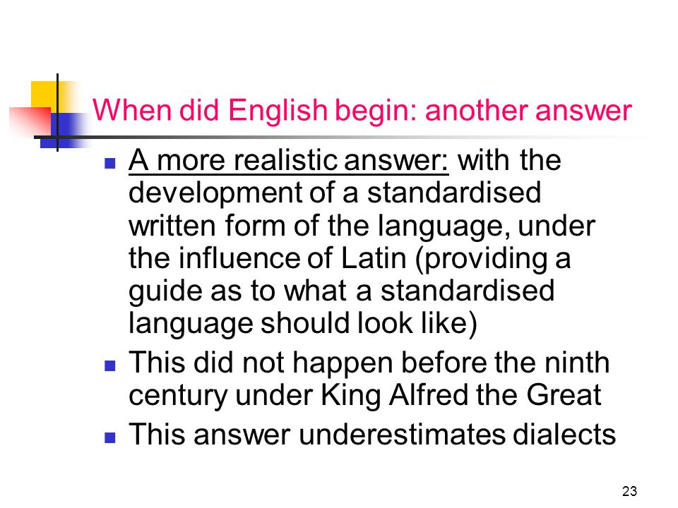 22 Standard Varieties of English West Saxon Standard No Standard English in Middle English: instead Latin and French The London standardization from 1